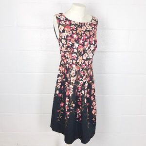 Talbots floral dress 16 petite sleeveless black